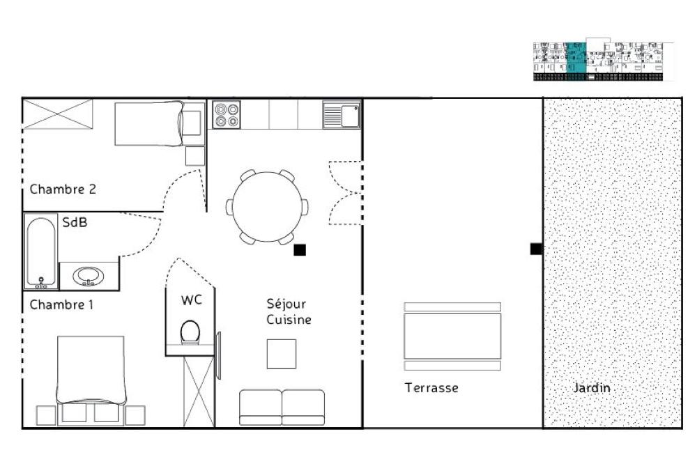 appartements t3 4 6 couchages la bastide des joncas. Black Bedroom Furniture Sets. Home Design Ideas
